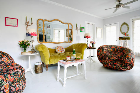 yellow couch living area
