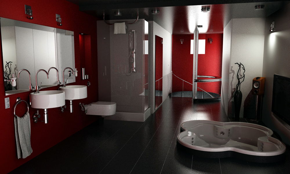 16 designer bathrooms for inspiration for Black white red bathroom decor