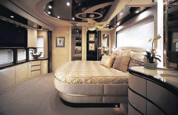 bedroom inside caravan