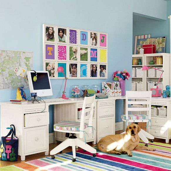 bright colorful study room