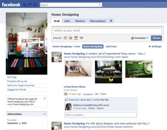 Join our fan page on facebook for Home design ideas facebook
