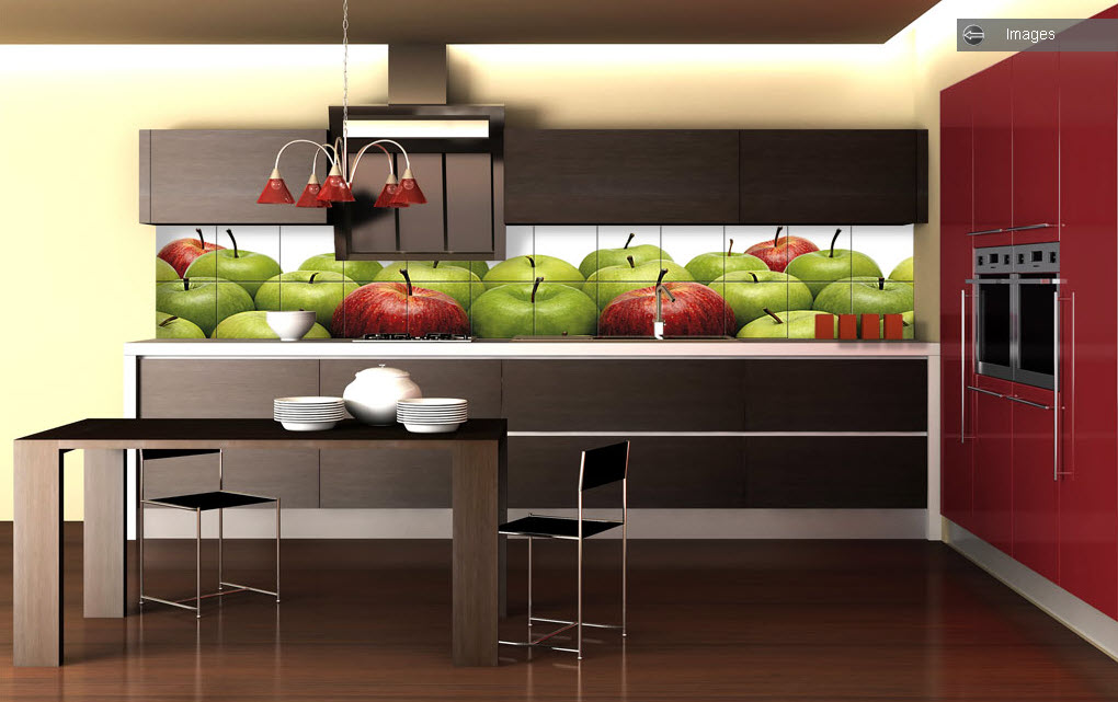 Green Red Apple Kitchen Tiles