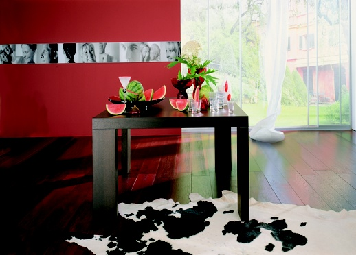 red and black dining rooms