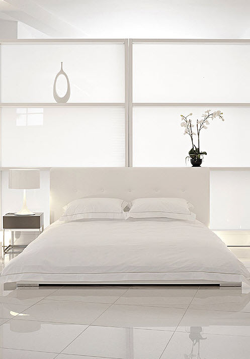 White interior design for White bed interior design