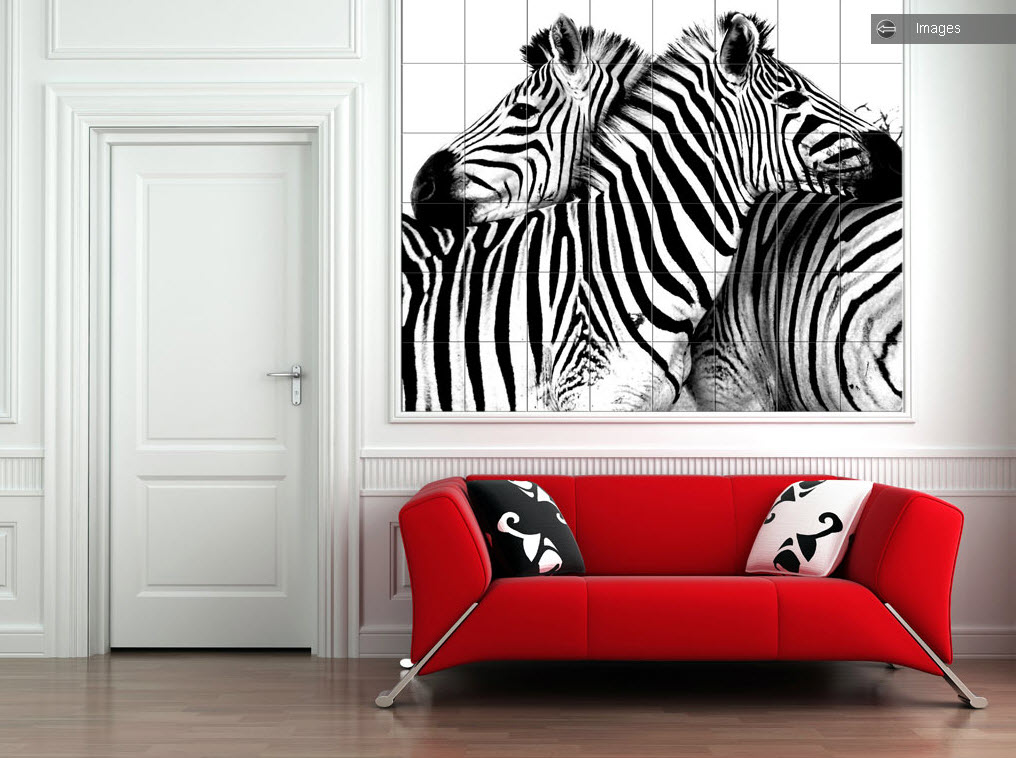 Photo tiles for kitchens and bathrooms for Zebra print and red bathroom ideas