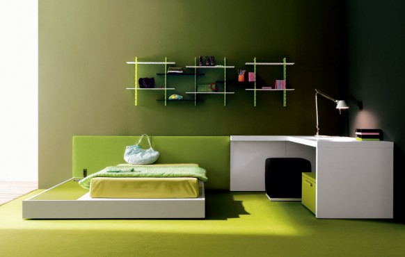 "amazing green teen room 582x370 Dormitorios ""Cool"""