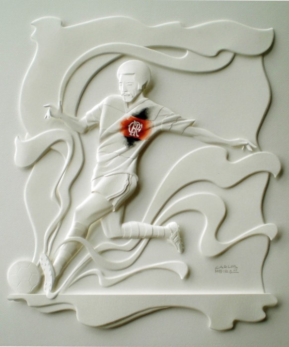 awesome paper soccer sculpture