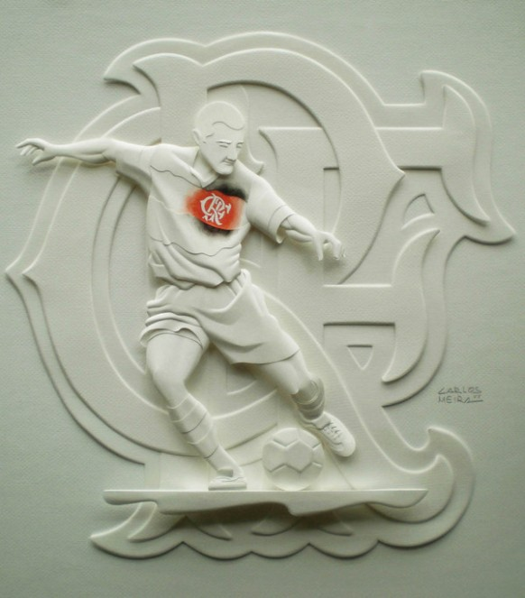 beautiful soccer player sculpture