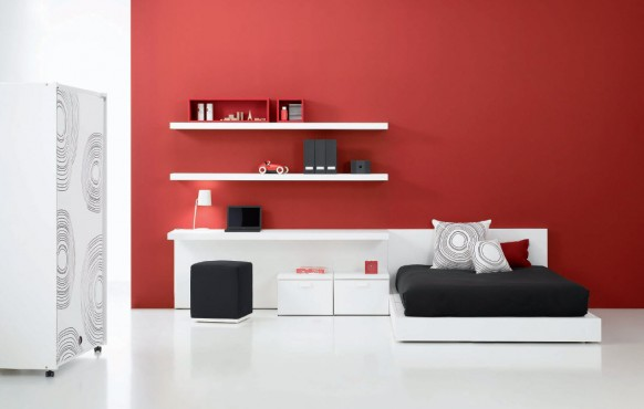 Red Black and White Teen Bedroom Designs