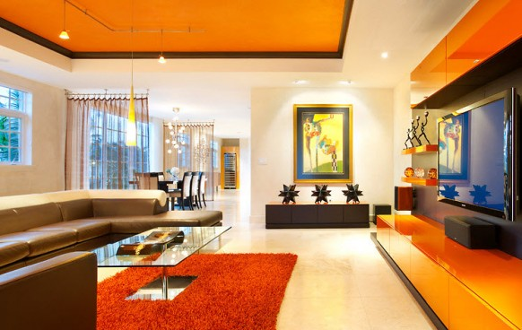 orange living room