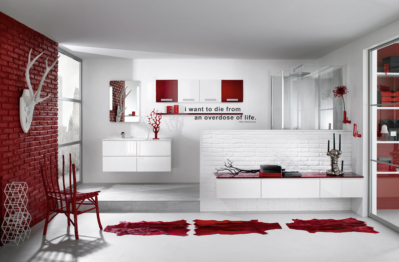 Red And White Delpha Bathroom