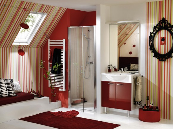 red bathroom delpha