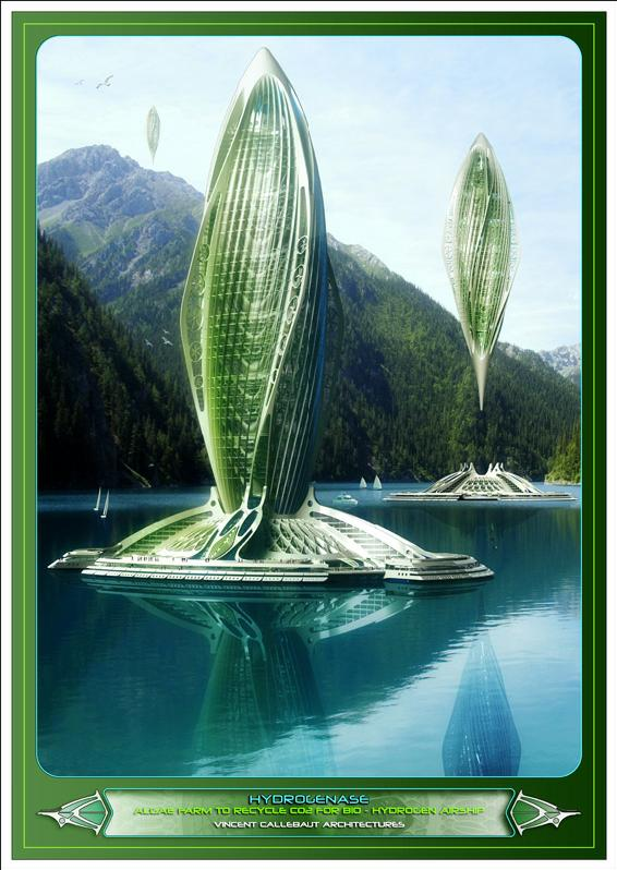 Artsy achitecture hydrogenase algae farm by vincent for Concept building