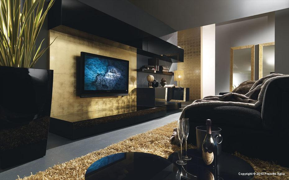 Living rooms Black and gold living room decor