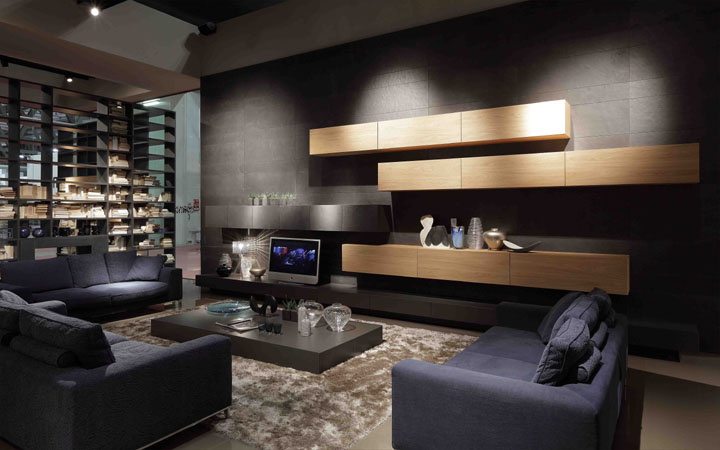 Contemporary living room design ideas for Black and brown living room designs