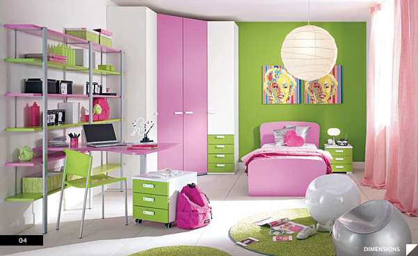 21 beautiful children 39 s rooms for Pink green bedroom designs