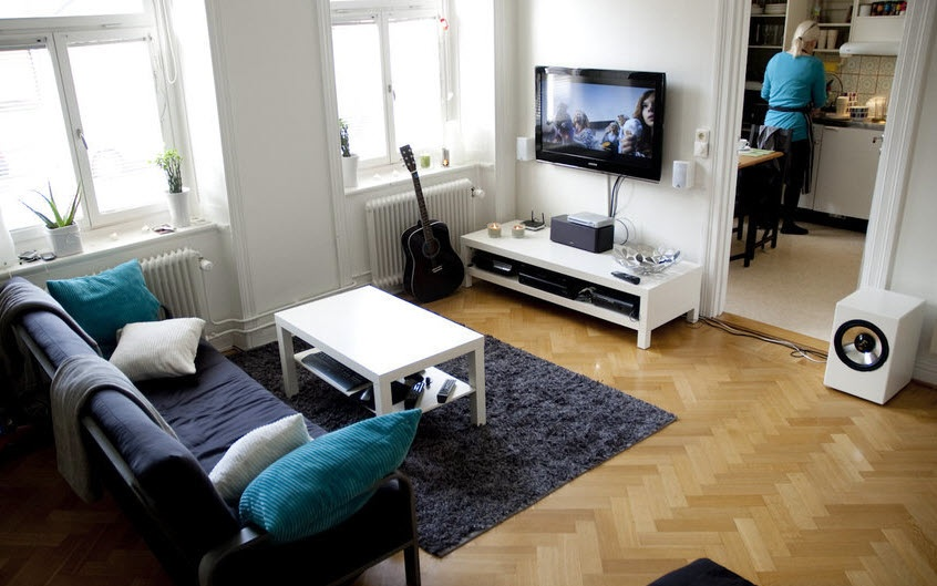 Scandinavian living room entertainment setups for Simple interior designs for small house