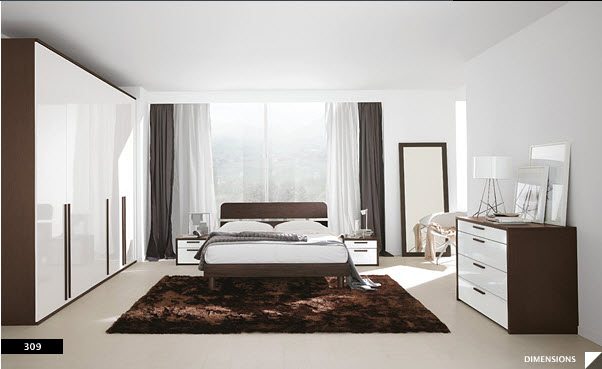 17 strikingly beautiful modern style bedrooms for Black white and brown bedroom ideas