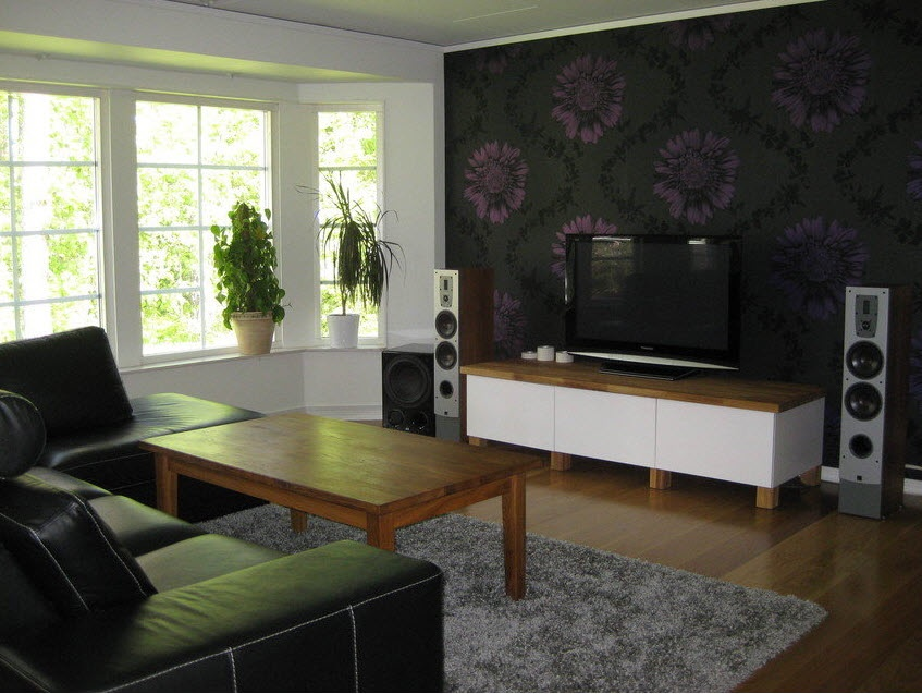 Scandinavian living room entertainment setups for Wallpaper lounge feature wall