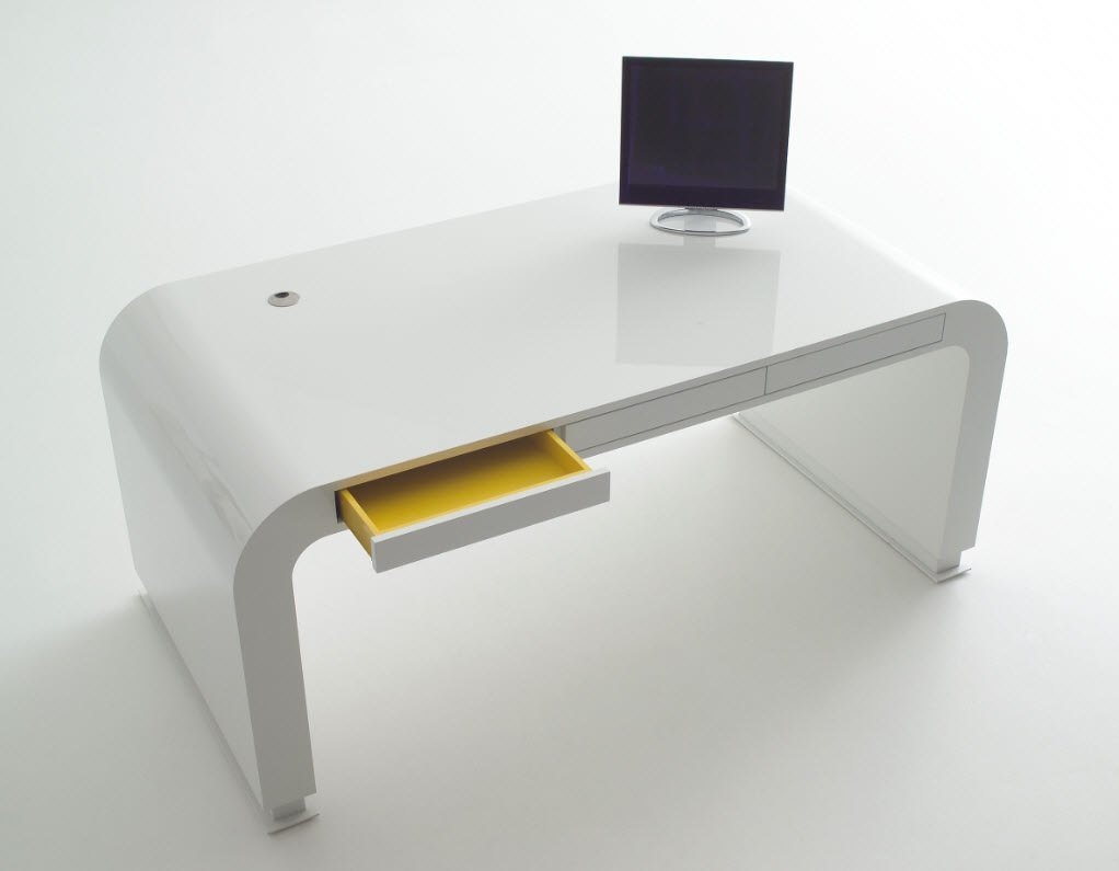 signalement open drawer signalement white desk - Modern Desk Design