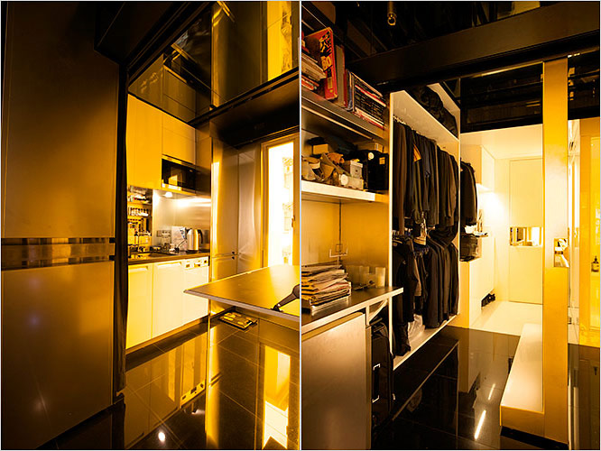 Space saving apartment that can transform itself into 24 combinations - Archietechtural kitchen design space saving ...