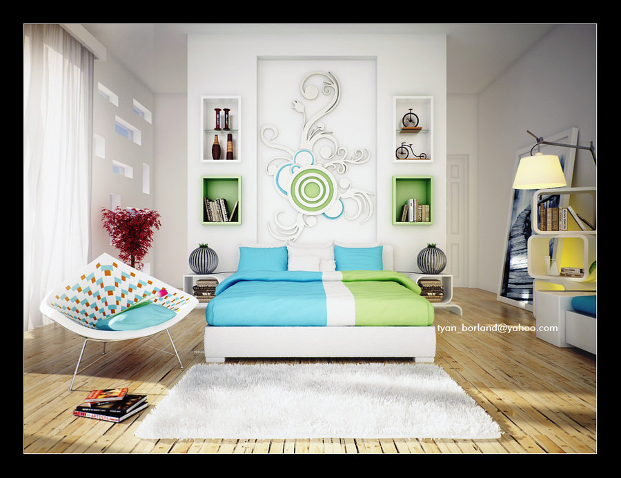 16 green color bedrooms for Bedroom ideas in blue