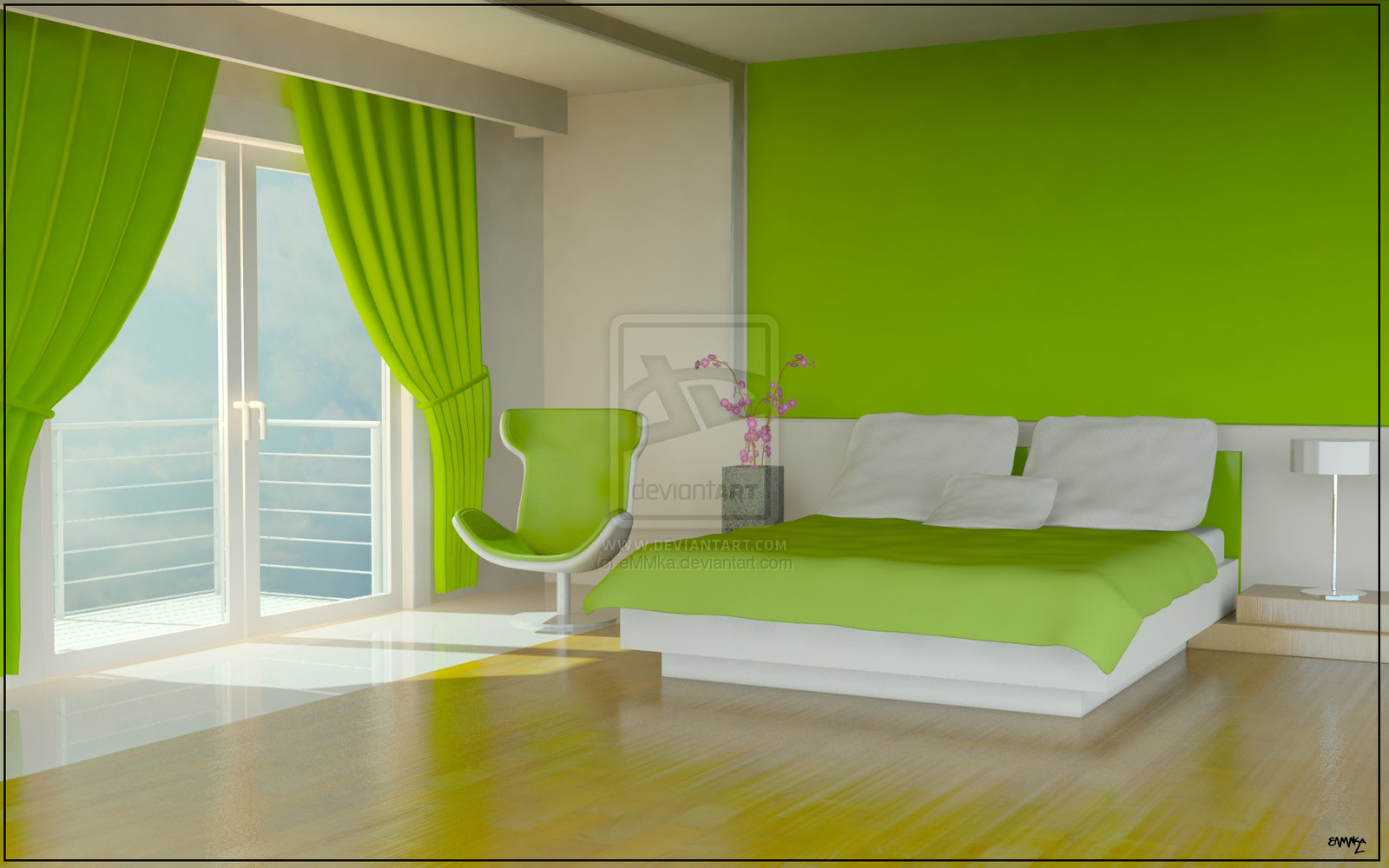 White and green bedroom - A