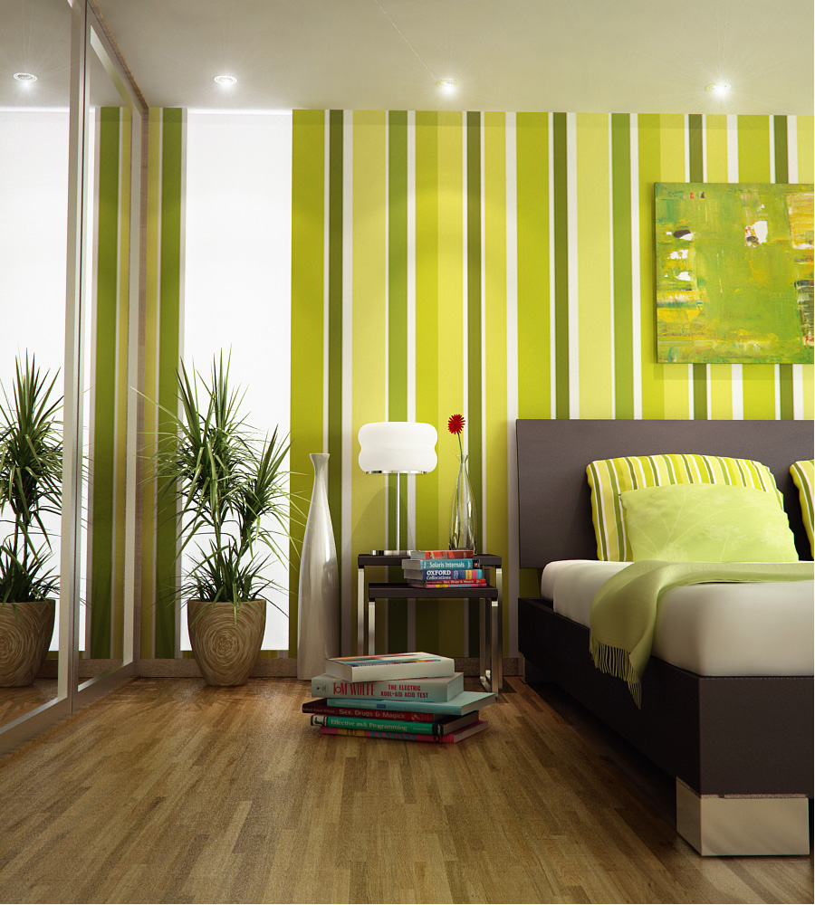 Bedroom colors green and white - Bold Striking Striped Bedroom