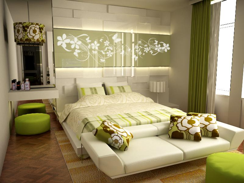retro floral designs - Green Bedroom Design