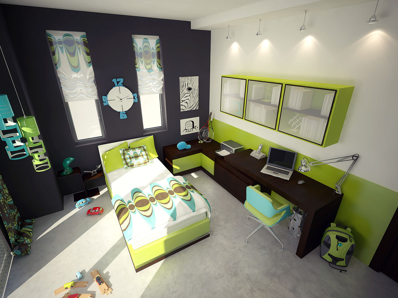teens bedroom with sophisticated green - Green Bedroom Design