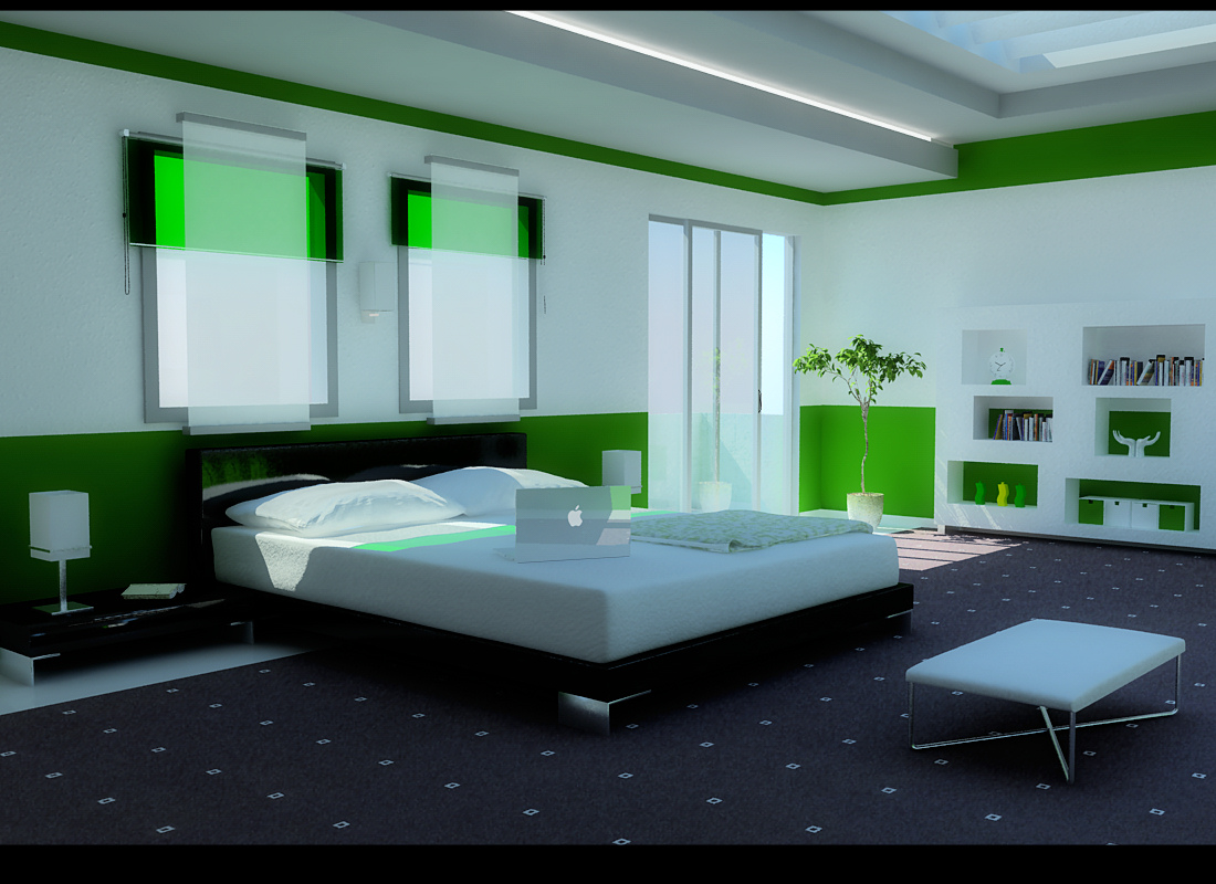 White and green bedroom - A Green