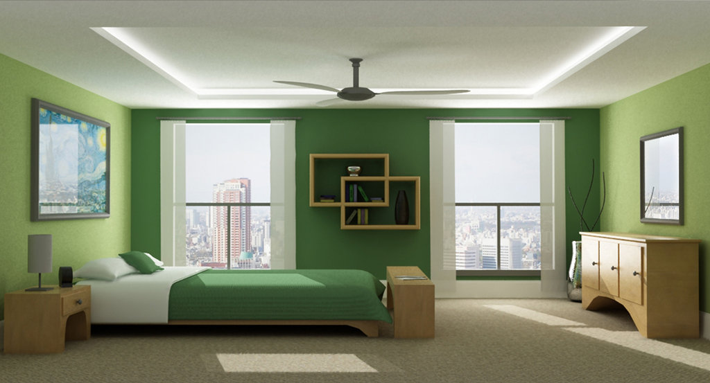 serene monochromatic - Green Color Bedroom