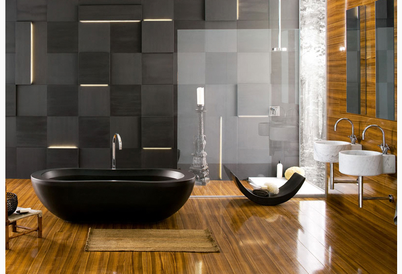 Black and gold floor tiles
