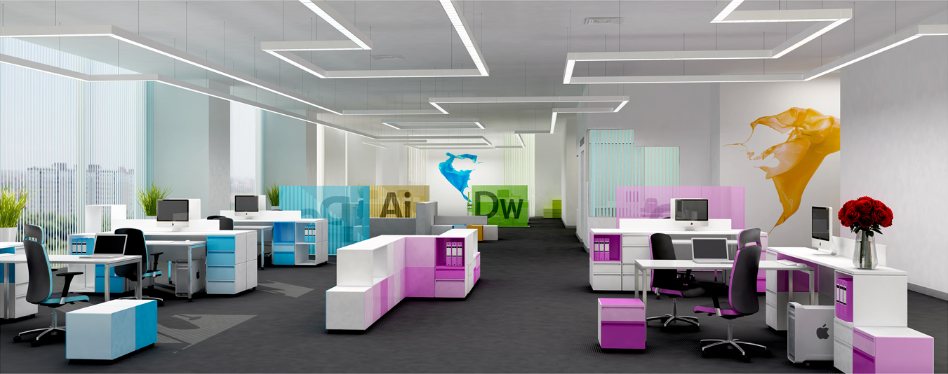 Adobe 39 s office an artist 39 s visualization for Funky office designs