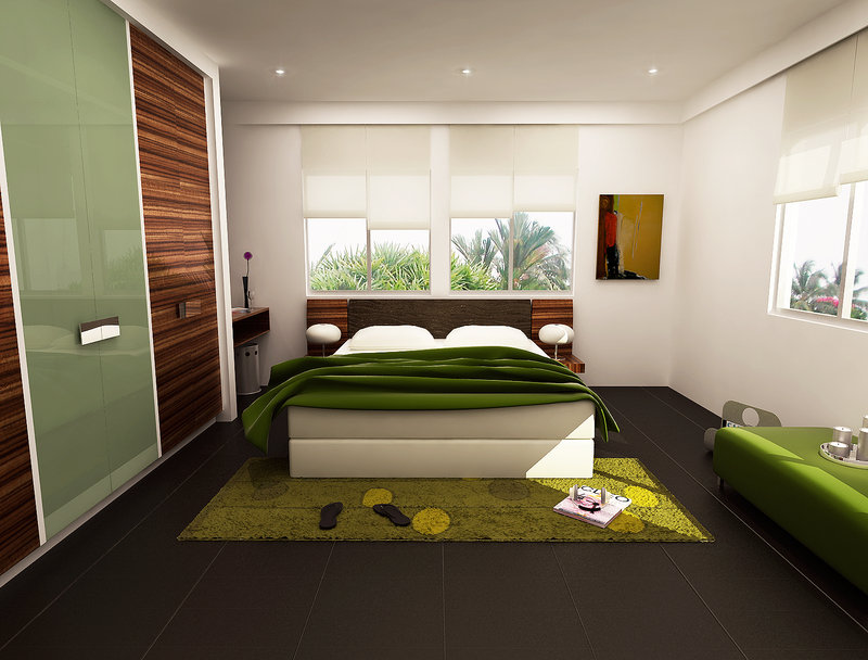 fresh greeny bedroom by 3Dskaper
