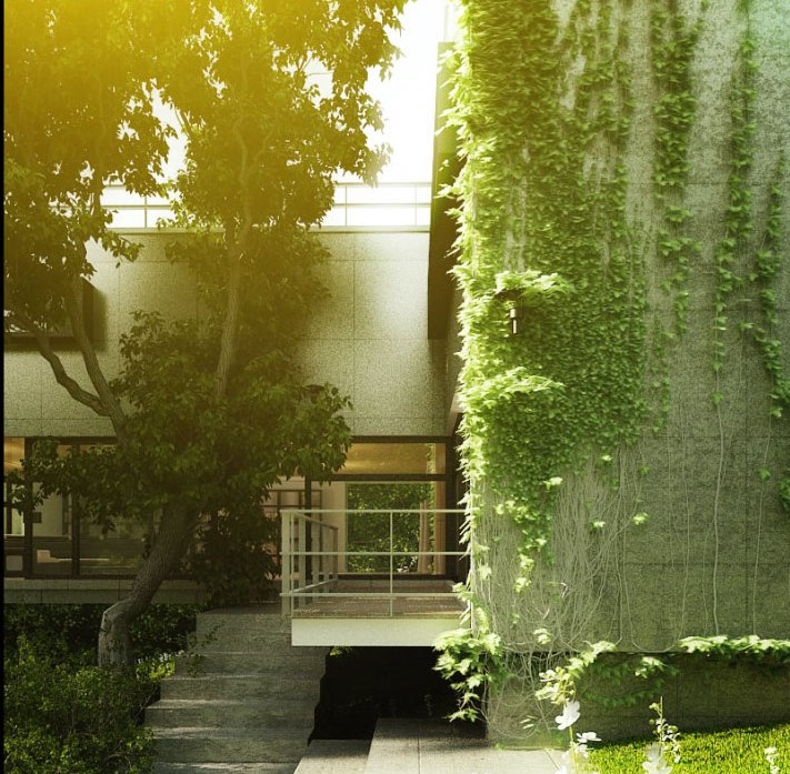 house vegetation. A summer house that blends with mother nature