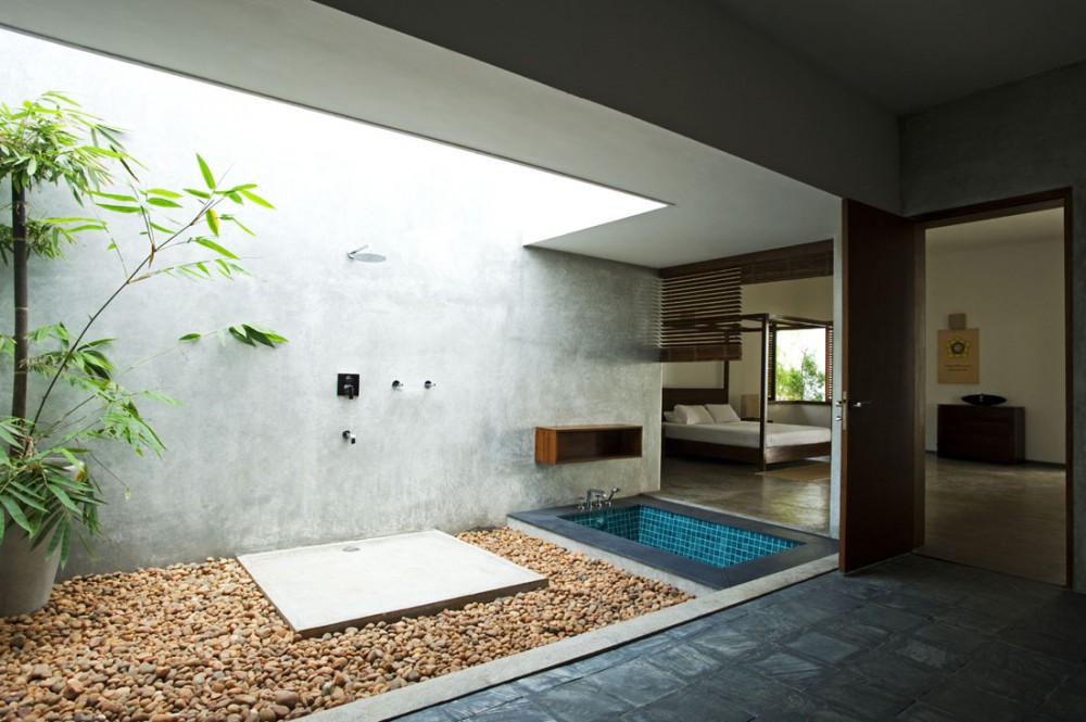 indoor tub open space traditional kerala interiors