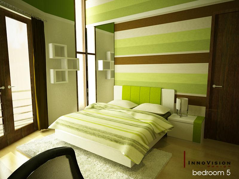 a - Green Color Bedroom