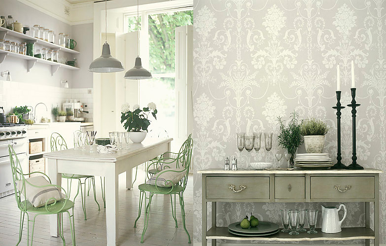 High Quality Antique White Kitchen With Jacquard Wallpaper