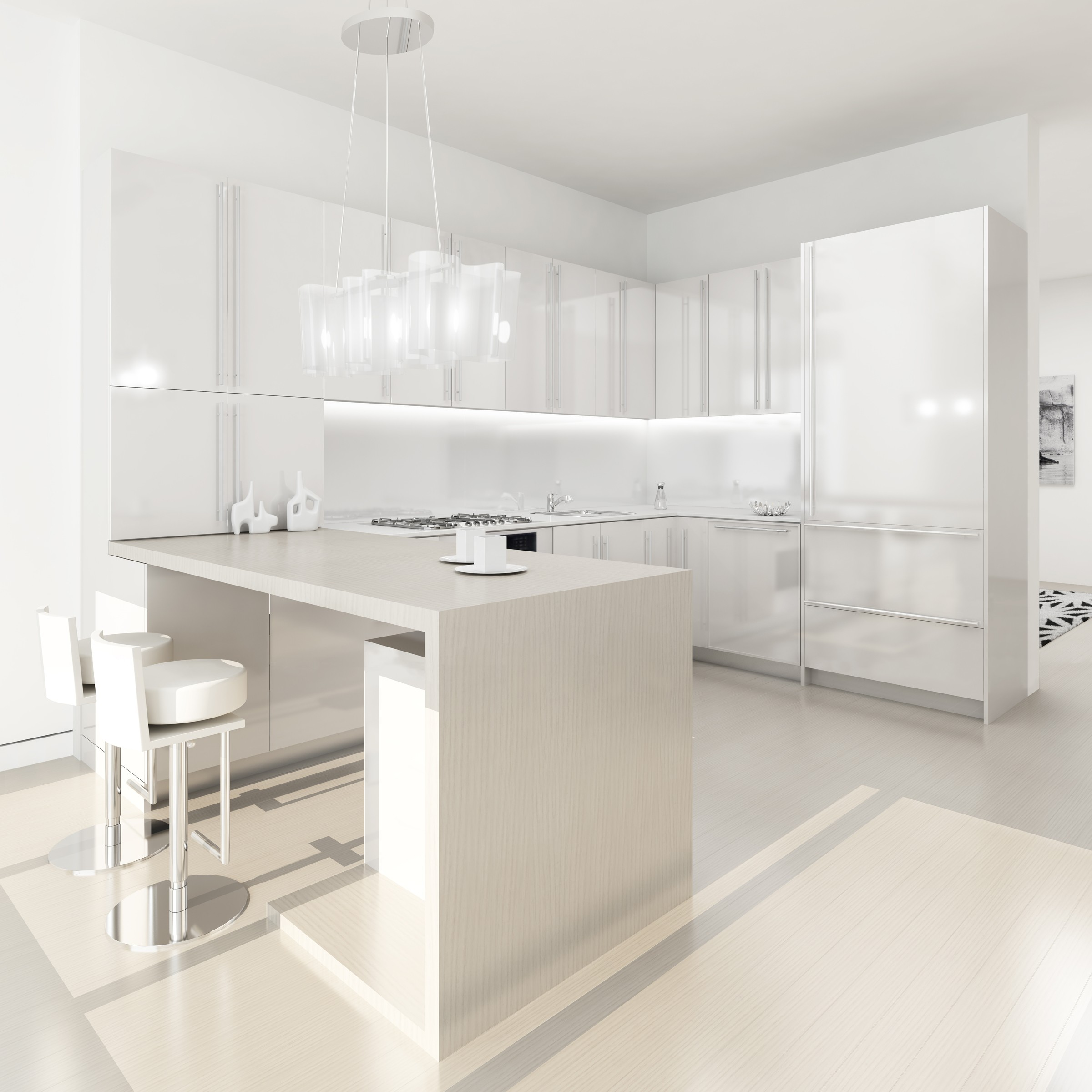 White kitchens for Beautiful modern white kitchens