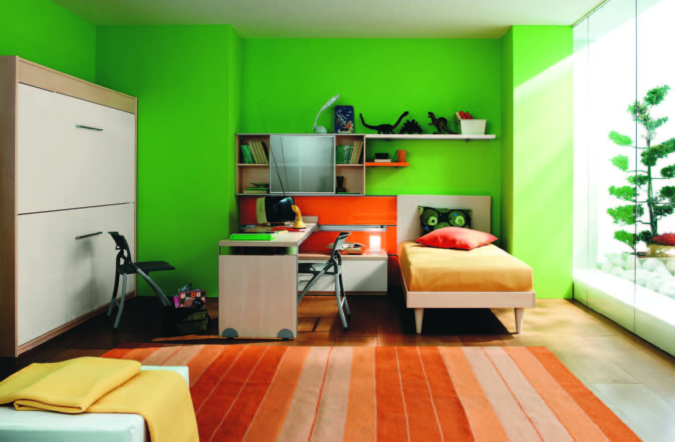 Fabulous modern themed rooms for boys and girls for Bright green bedroom ideas