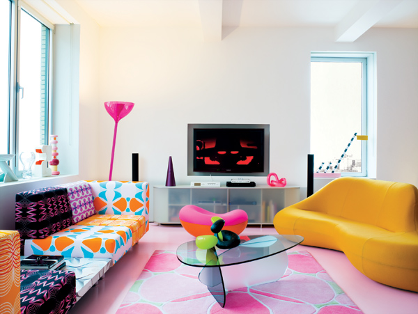 Karim rashid apartment interiors for Colorful modern home decor