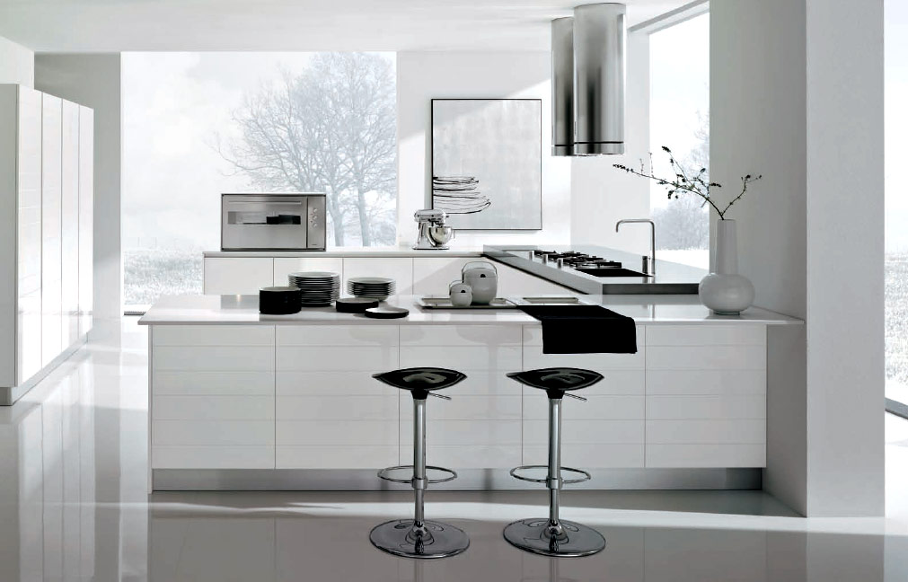 White kitchens for Black and white modern kitchen designs