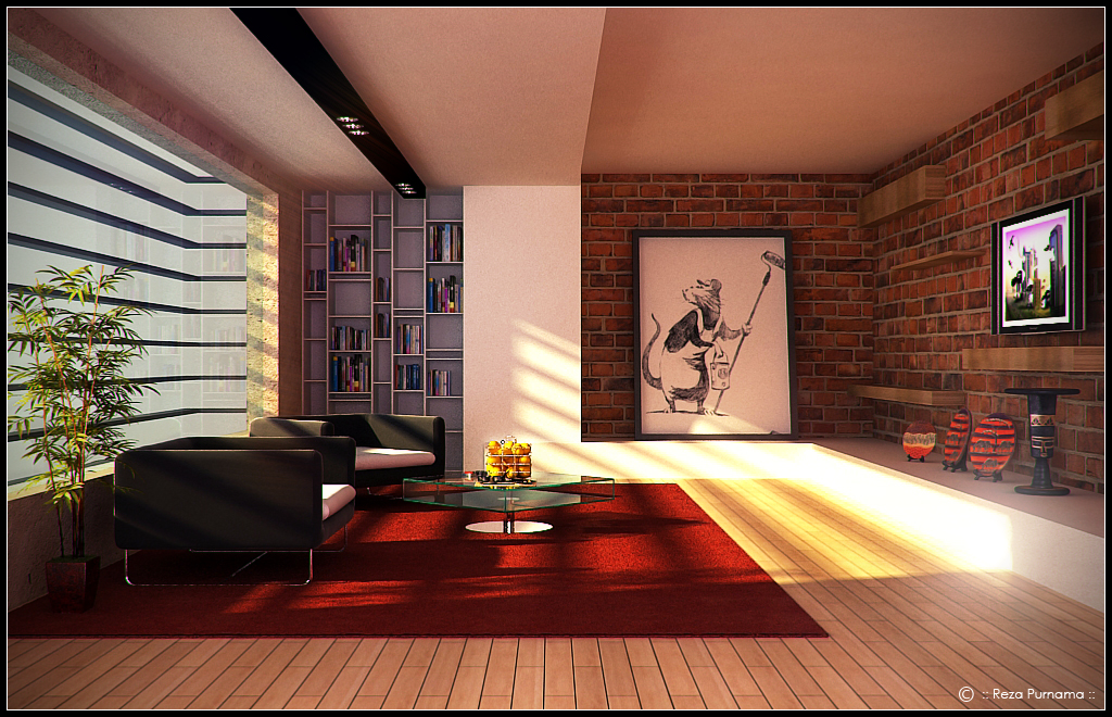 Warm Living Room With Bansky ARt By Eja87