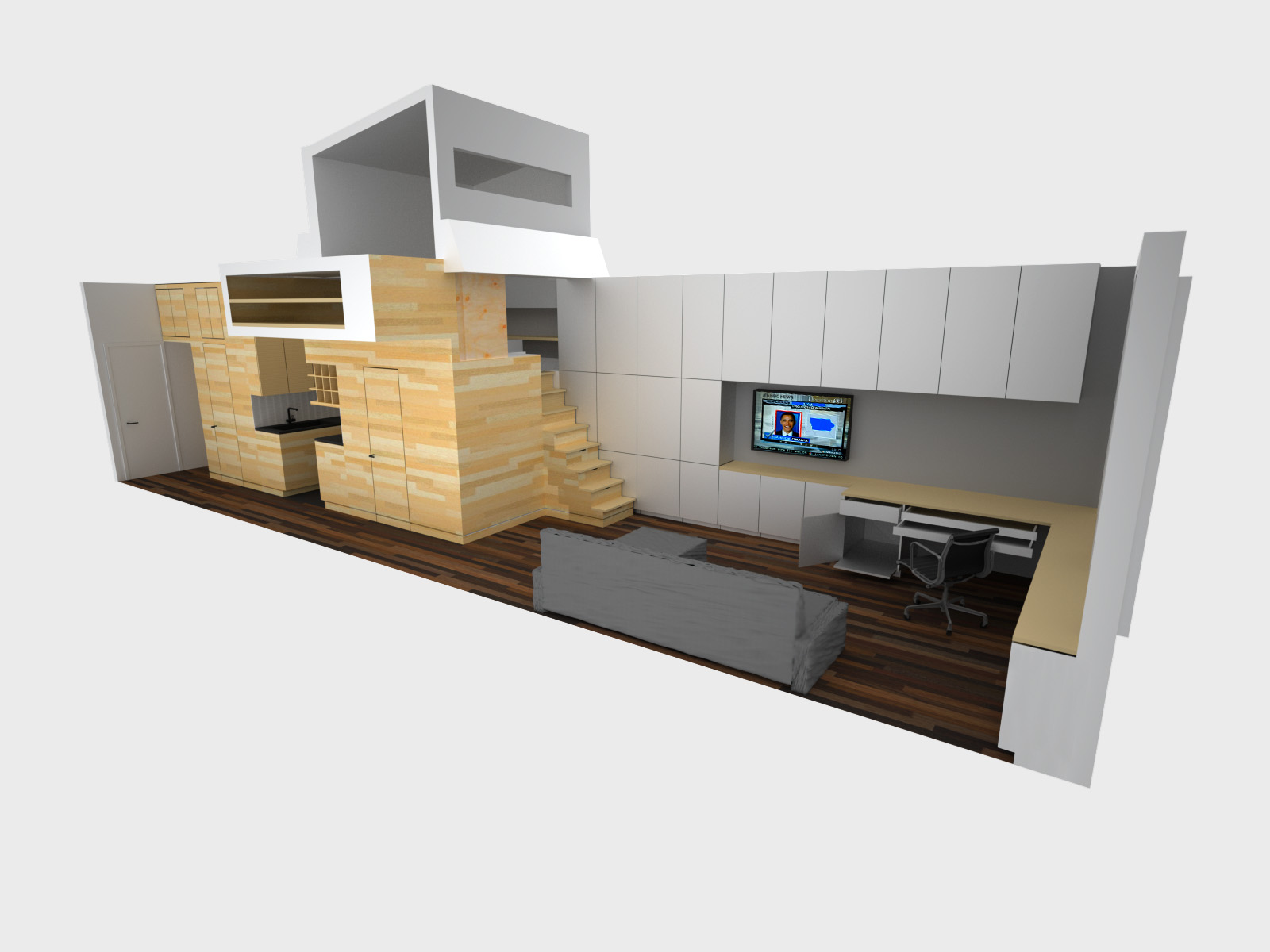 Space saving tiny apartment new york for Small efficiency apartment