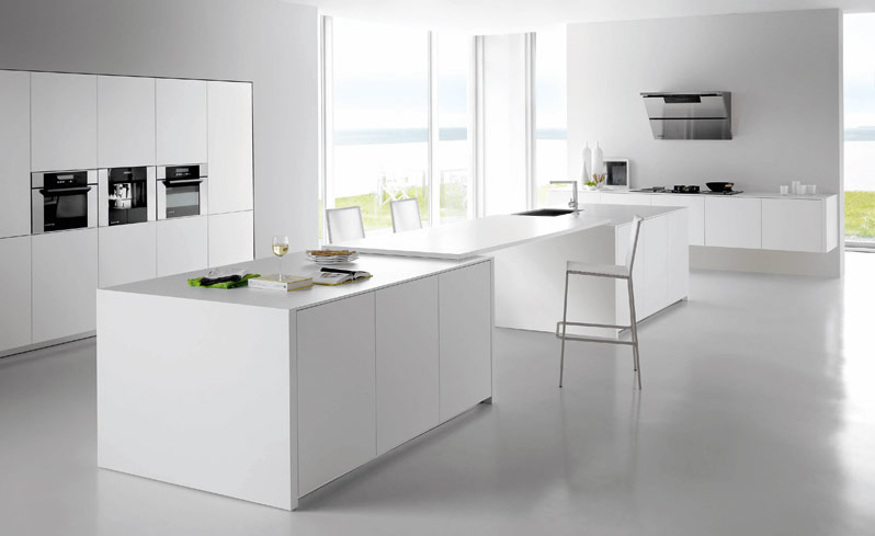 White kitchens - Witte quartz werkblad ...