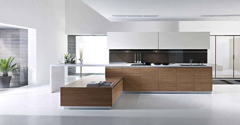 dune kitchen design from pedini with brown wood