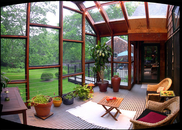 Creating outdoor spaces for country living for Modern sunroom designs