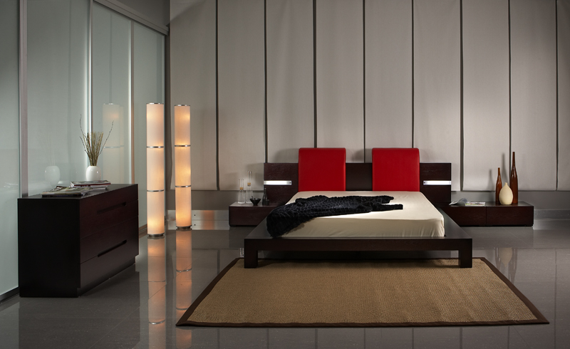 Modern Bedroom Red bedroom decorating ideas from evinco