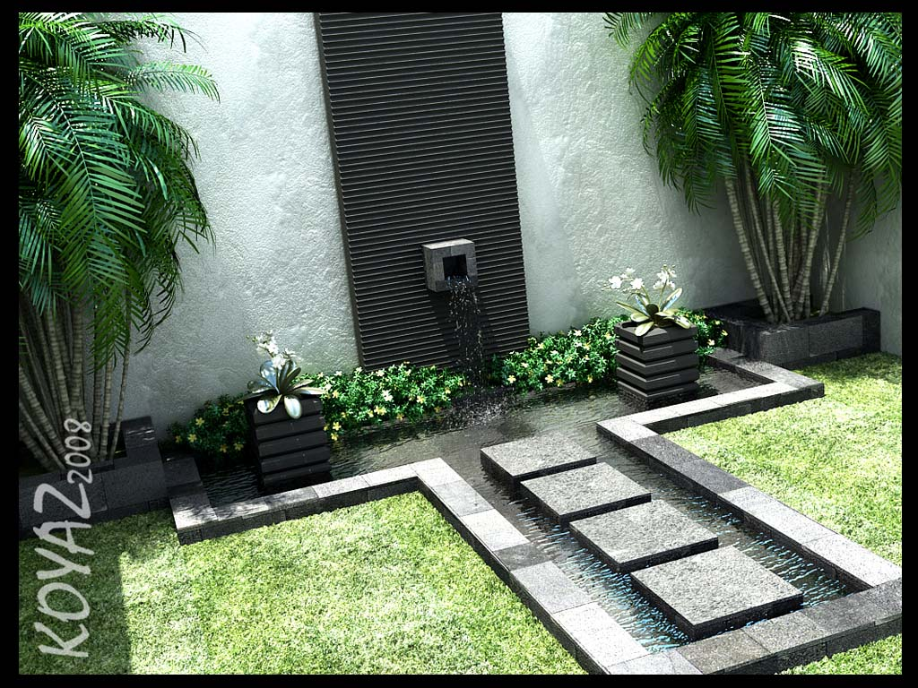 beautiful stone tribal water feature in courtyard - Courtyard Design Ideas